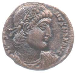 Profile of Constantine on bronze coin