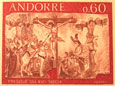Andorre stamp with Longinus on horse piercing side of Christ